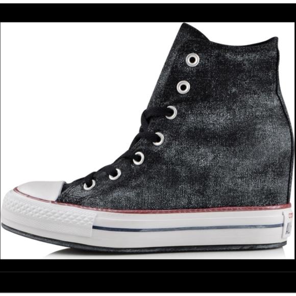 Star Black Hi Top Wedge Sneakers | Poshmark